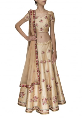 Beige Embellished Lehenga and Choli with Edging Border Dupatta