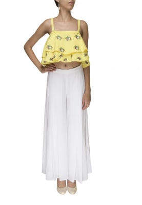 Yellow Double Layer Spaghetti Top Paired with White Plain Palazzo