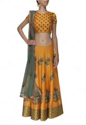 Mustard Embroidered Lehenga and Choli with Green Embroidered Dupatta