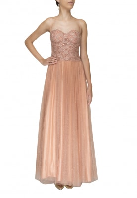 Peach Embroidered High-Lighted Lace with Shimmer Flare Gown