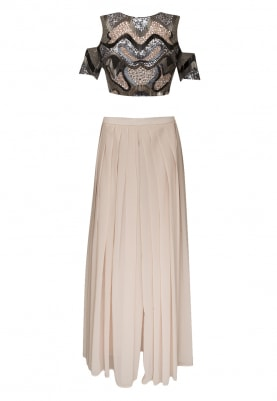 Pink Sequin Embroidered Crop Top Paired with Pleated Palazzo Pants