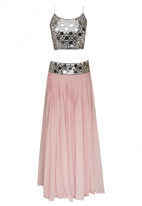 White Mirror Work Spaghetti Crop Top Paired with Pink Embellished Waist Lehenga and Dupatta