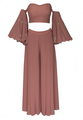 Blush Pink Off-Shoulder Embroidered Crop Top Paired with Panel Flare Palazzo Pants