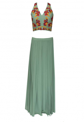 Green Halter Embellished Blouse with Pleated Palazzo Pants