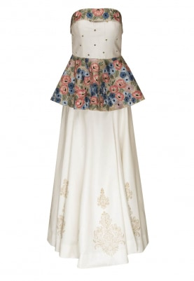 White Floral Embellished Bustier Crop Top with A Line Flare Boota Embellished Skirt