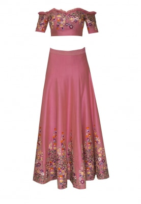 Pink Floral Embellished Cold Shoulder Choli with Broad Embellished Border Circular Lehenga and Transparent Dupatta