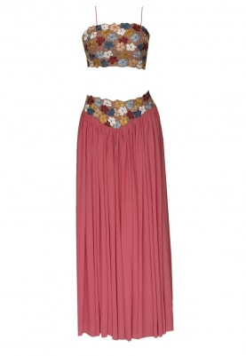 Peachy Pink Floral Embellished Crop Top with Yoke Embellished Lehenga and Floral Edging Lace