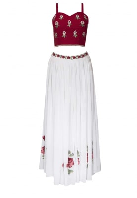 Maroon Embellished Choli with White Gathered Lehenga and Contrast Border Dupatta