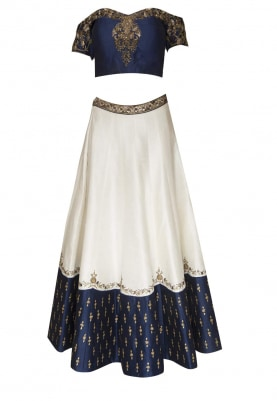 Blue Off-Shoulder Embroidered Choli and Dupatta with White Lehenga