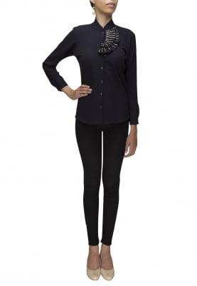 Black Shirt with Embellished Collar Flange