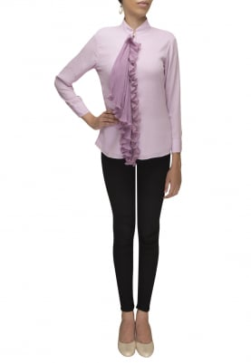 Purple Shirt with Pleated Front Placket