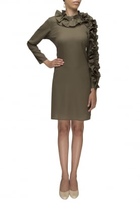 Olive Green Ruffled Neckline and Sleeve Short Dress