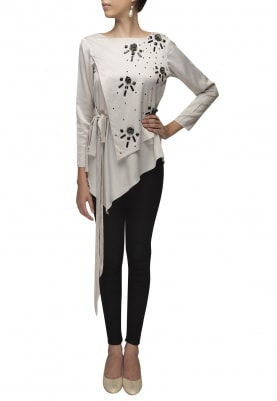 Grey Embroidered Layer Top with Waist Tie-Up