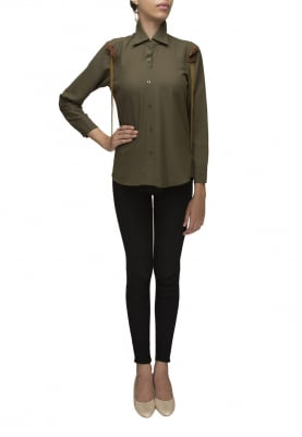 Olive Green Button Shirt with Shoulder Tip Embellished