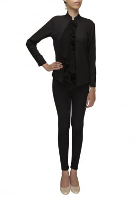 Black Shirt with Pleated Placket and Tie-Up Collar