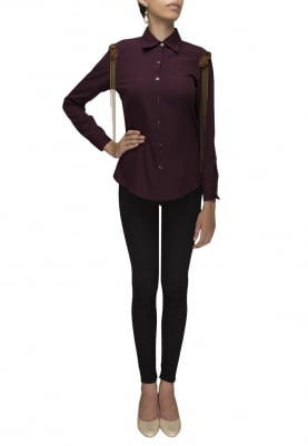 Purple Front Button Shirt with Shoulder Tip Embellished