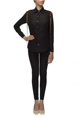 Black Front Button Shirt with Shoulder Tip Embellished