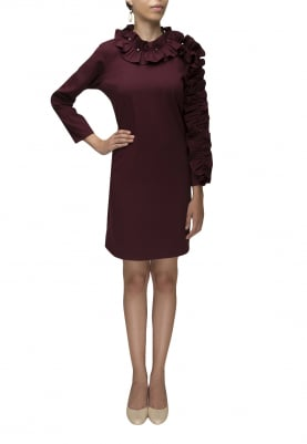 Maroon Ruffled Neckline and Sleeve Short Dress