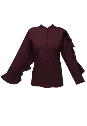 Maroon Ruffled Sleeve Shirt