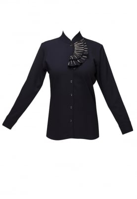 Black Shirt with Embellished Collar Flange
