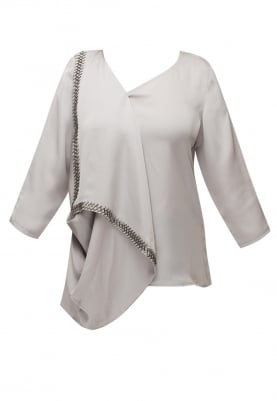 Grey Embroidered Drape Top with Asymmetric Neckline