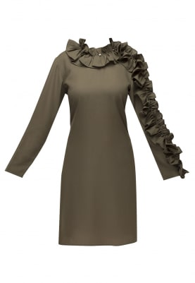 Olive Green Ruffled Neckline and Sleeve Short Dress