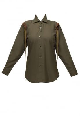 Olive Green Button Shirt with Shoulder Tip Embellished