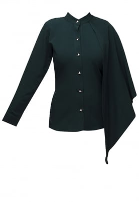 Green Shirt with One Side Cape Detailing Collar Flange Sleeve
