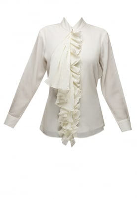 White Shirt with Pleated Placket and Tie-Up Collar