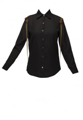 Black Front Button Shirt with Shoulder Tip Embellished