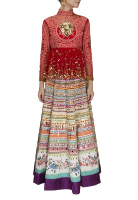 274114f573bb9 Red Dori Work Hand Embroidered Peplum Top with Highlighted Printed Skirt ...