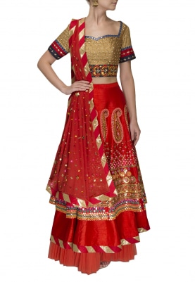 Gold Embroidered Blouse with Layered Embroidered Lehenga and Scatter Embroidered Dupatta