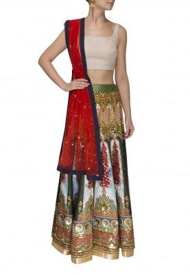 Grey Digital Printed Skirt with Floral Hand Embroidery Highlights with Blouse and Contrast Dupatta with Border Edging