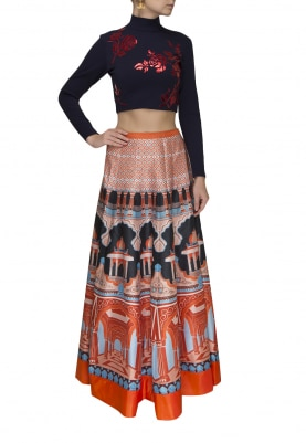 Midnight Blue Faux Leather Applique Crop Top with Digital Printed Skirt