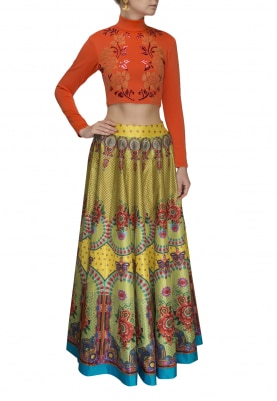 Orange Faux Leather Applique Crop Top with Digital Printed Skirt