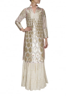 Ivory Applique Work and Floral Highlights Kurta with Sharara Pants