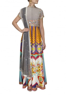 Grey Digital Print Flare with Embroidered Yoke with Mirror Work Dupatta