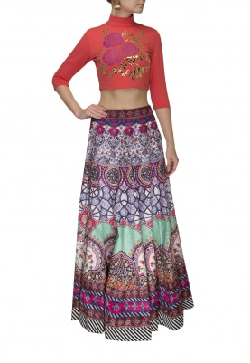 Crimson Red Faux Leather Applique Crop Top with Digital Printed Skirt