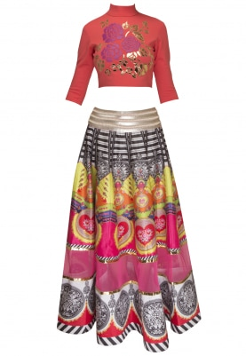 Pink and Red Faux Leather Applique Crop Top with Digital Printed Skirt