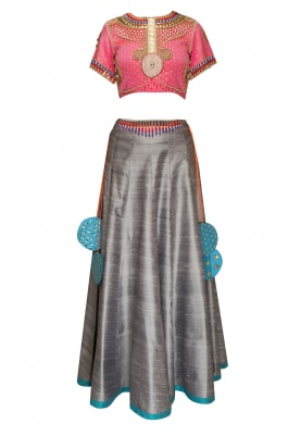 Pink Pearl and Gold Embroidered Crop Top with Skirt and Embroidered Dupatta