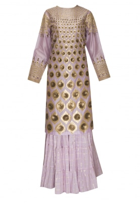 Lilac Applique Work and Floral Highlights Kurta with Sharara Pants