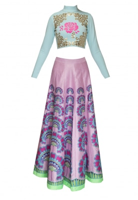 Pastel Blue Faux Leather Applique Crop Top with Digital Printed Skirt