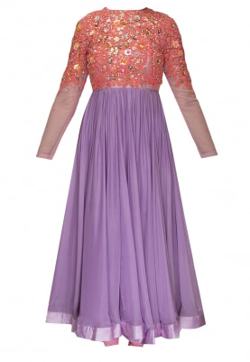Pink and Lavender Hand Embroidered Floral Dori Work Yoke Anarkali Paired with Embroidered Floral Dupatta