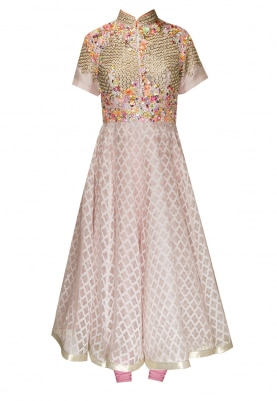 Peach Cutwork and Sequin Floral Yoke Anarkali Paired with Contrast Lycra Churidar and Net Dupatta
