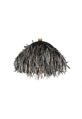 Black Tassel Embroidered Oval Clutch