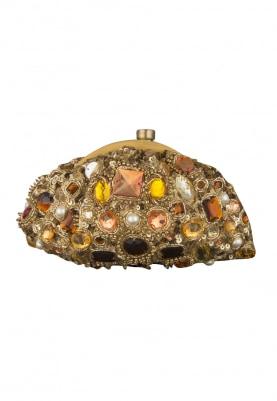 Gold Embellished Clutch with Multicolor Stones