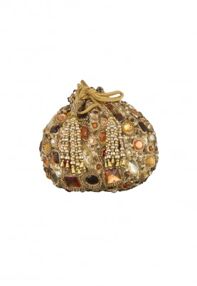 Gold Stones Embellished Potli Bag