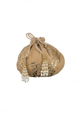 Black and Gold Leaf Design Potli Bag