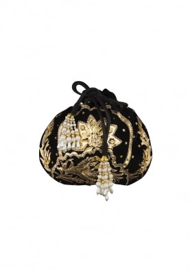 Black Floral Applique Work Potli Bag