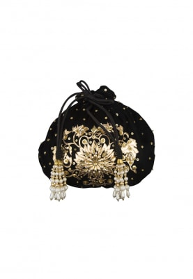 Black and Gold Floral Embroidered Potli Bag